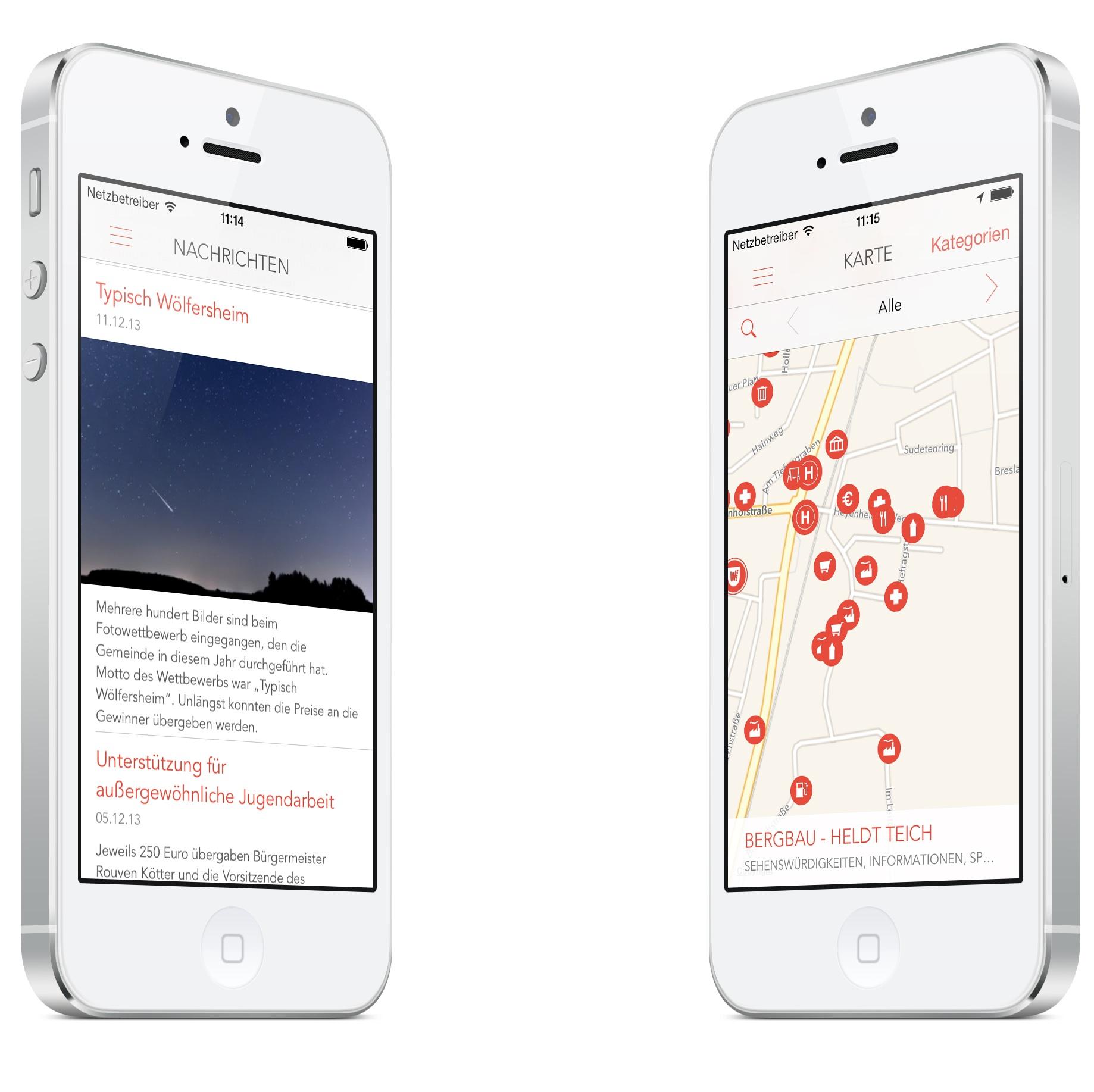 Die neue App der Gemeinde Wölfersheim zeichnet sich durch ein schlichtes Design und nützliche Funktionen aus.
