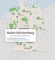 Das Portal Open Data Map bietet vergleichende Recherchen auf kommunaler Ebene an.
