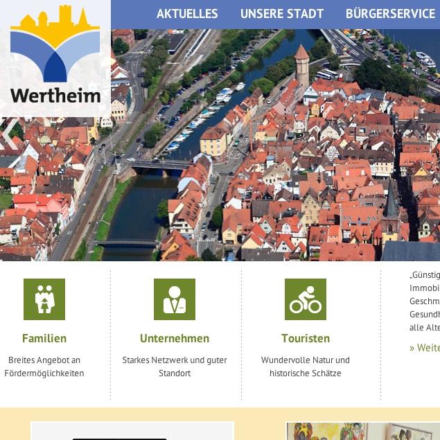 Die neue Internet-Seite der Stadt Wertheim präsentiert sich mit modernen Elementen.