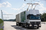 Oberleitungs-Lkw: Strom soll auch im Verkehrssektor zum wichtigsten Energieträger werden.