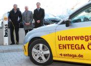 Gemeinsam mit einem Autohaus bietet ENTEGA Dienstleistungen zur Elektromobilität an.
