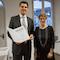 Saarlands Ministerpräsidentin Annegret Kramp-Karrenbauer verlieh den Titel eines Technologierats an Unternehmer David Zimmer, CEO von inexio.