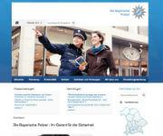 Die Bayerische Polizei präsentiert ihre neue Website passend zur neuen Uniform: ganz in Blau.