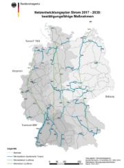 Netzausbaubedarf 2017-2030 – bestätigte Maßnahmen