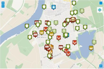 In einer interaktiven Karte können Bürger der Stadt Monheim ihre Ideen für den nächsten Haushalt eintragen.