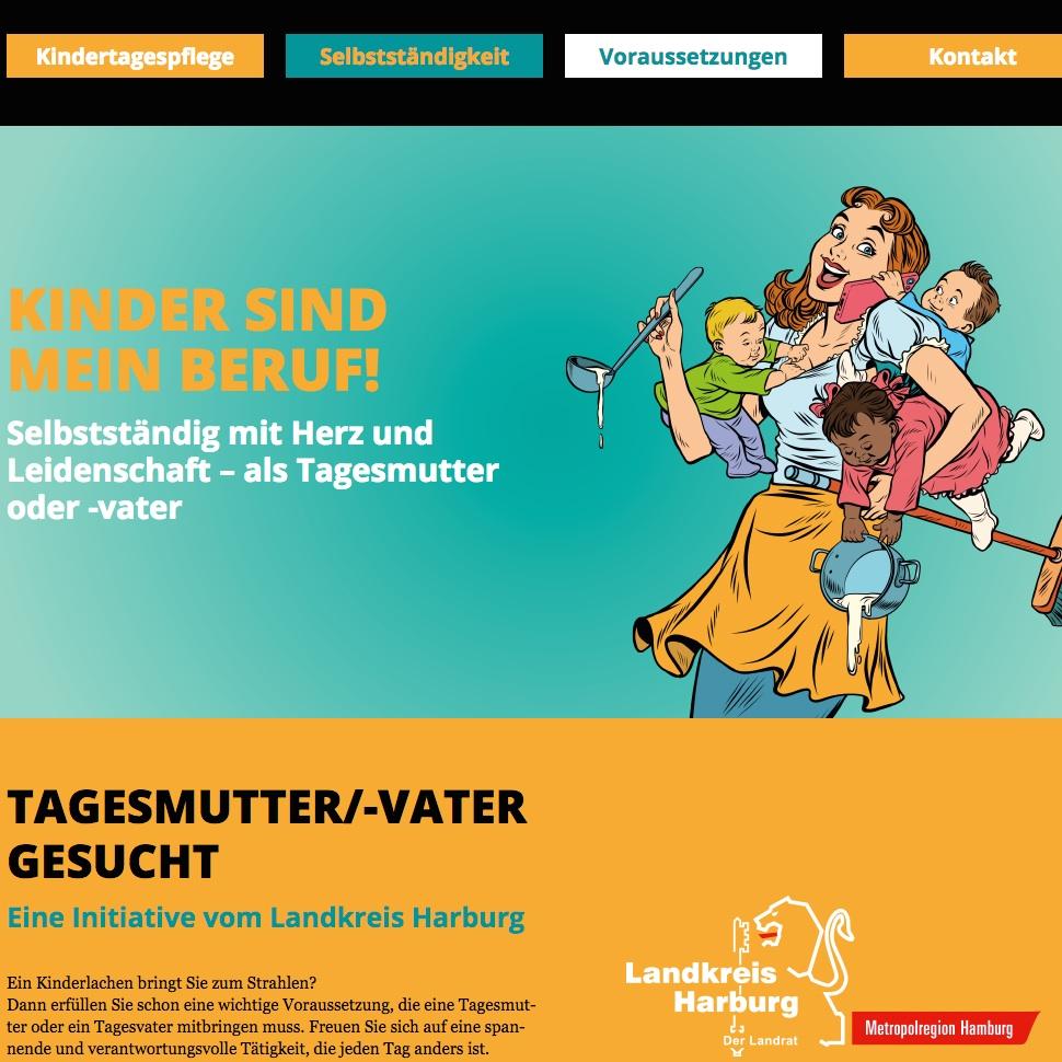 Die Website im One-Page-Design stellt den Nutzern wichtige Informationen rund um das Berufsfeld Tagesmutter zur Verfügung.