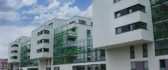 Wohngebiet Seepark in Stuttgart-Möhringen: Die Gebäude verbrauchen sehr wenig Energie und sind an ein eigenes, neu verlegtes Wärmenetz angeschlossen.