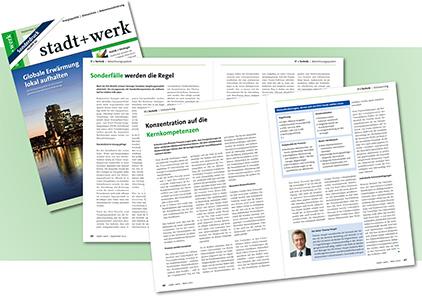 Beispiel eines Sonderdrucks in der Fachzeitschrift stadt+werk
