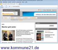 Screenshot von kommune21.de
