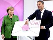 Bei Startschuss der De-Mail auf dem Stand der Deutschen Telekom.