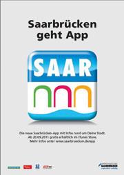 Saarbrücken wirbt für Applikation.