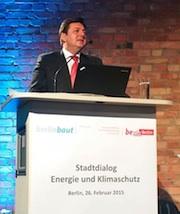 Andreas Geisel, Senator für Stadtentwicklung und Umwelt der Stadt Berlin, erklärte auf dem Stadtdialog die Notwendig einer regen Bürgerbeteiligung.