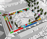 Der Wochenmarkt auf dem Moltkeplatz in Hannover in 3D-Ansicht.