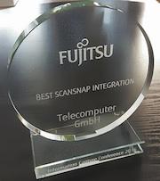Telecomputer hat den Best ScanSnap Integration Award von Fujitsu erhalten.