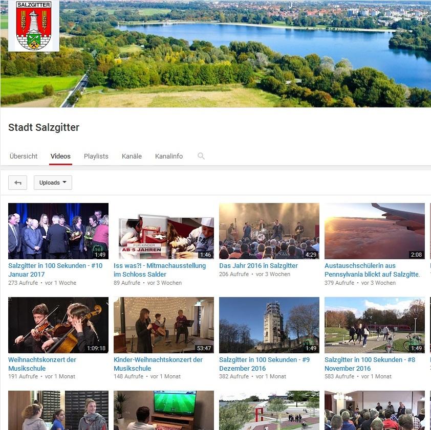 Auf dem Youtube-Kanal von Salzgitter können die Besucher 315 Videos rund um die Stadt anschauen.