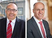 Professor Helmut Krcmar, Inhaber des Lehrstuhls für Wirtschaftsinformatik an der TU München (l.) und Kurt Gribl, Oberbürgermeister der Stadt Augsburg