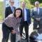 Staatssekretärin Dorothee Bär eröffnet die 200. E-Schnellladesäule an der Autobahnraststätte Mellrichstädter Höhe Ost.