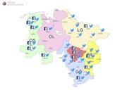 Die Karte auf der Website der Polizei Niedersachsen gibt eine Übersicht zu den aktiven Social-Media-Accouts.