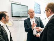 Frédéric Gastaldo, CEO Swisscom Energy Solutions (l.) und Michael Heidkamp, Vorstand Markt EWE AG, stellten die myEnergyCloud auf der E-world vor.