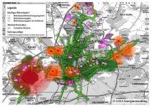 Abwärme-Kataster der Stadt Frankfurt am Main: Die Karte zeigt einen Abgleich von Abwärme-Angebot (grün/orange/rot) und Wärme-Nachfrage (magenta).