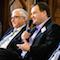Staatssekretär Richter (2.v.l.) und Dr. Michael Wandersleb (rechts) bei der 6. Digitalisierungskonferenz in Halle (Saale).
