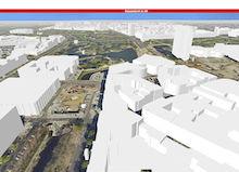 Ein 3D-Stadtmodell bietet Düsseldorf im Internet an.