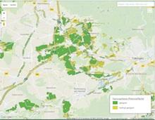 Die Karte zeigt die Freiflächen in Baden-Württemberg, die theoretisch für die Photovoltaiknutzung geeignet sind.