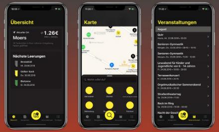 """App """"Mein Moers"""" erinnert an Müllabfuhrtermine, zeigt freie Parkplätze an und informiert über aktuelle Veranstaltungen."""