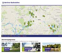Berliner Badestellen samt Wasserqualität tagesaktuell im Web.