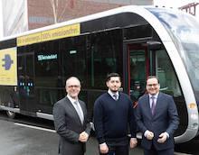 Die Ruhrbahn fährt in Essen einen Elektrobus der Firma Irizar Probe.