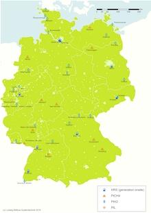 In Deutschland sind Power-to-Gas-Anlagen mit einer elektrischen Gesamtleistung von über 55 Megawatt in Betrieb oder in Planung.