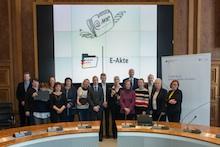 Die Beteiligten des Pilotprojekts E-Akte Bund im Bundesministerium der Finanzen (BMF).