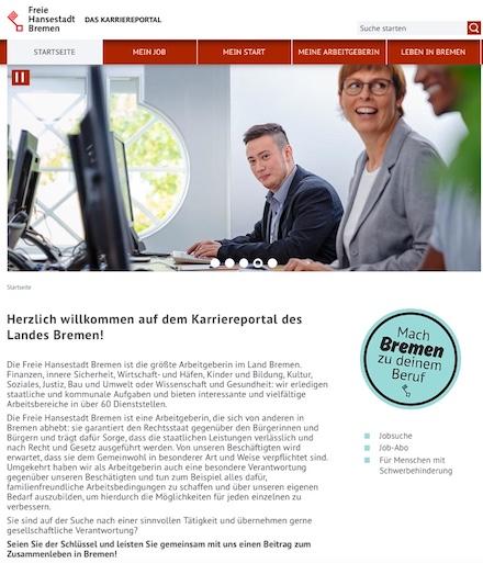 Das neues Karriereportal der Bremer Verwaltung listet alle Stellenangebote aus Bremen, Bremerhaven und dem Umland und bietet die Möglichkeit der Online-Bewerbung.