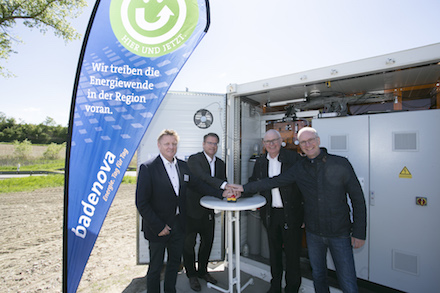 Inbetriebnahme des neuen Batteriespeichers in Freiburg-Opfingen.