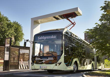 Vollelektrischer Gelenk-Konzeptbus Volvo 7900 EA in Göteborg.