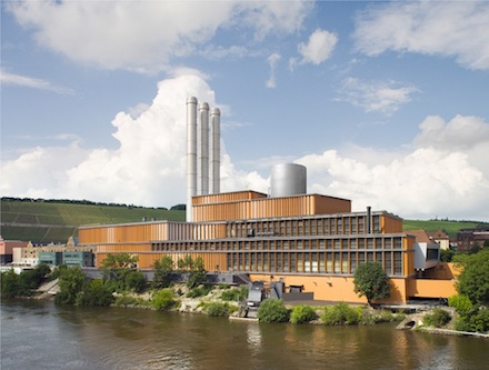 Gas- und Dampfturbinen-Kraftwerk am Mainufer in Würzburg: Planfoto des HKWs mit integriertem neuem Wärmespeicher.