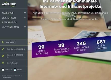 Advantic zeigt neue Seiten im Internet.