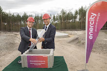 Grundsteinlegung zur Erweiterung des enercity-Windparks Klettwitz.
