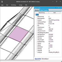 Visualisierung eines Straßenbaus mit Details.