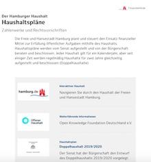Die Freie und Hansestadt Hamburg stellt haushaltsrelevante Daten auf einer interaktiven Website zur Verfügung.