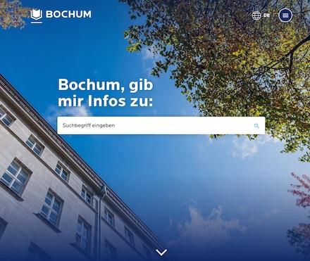 Die Startseite des Bochum-Portals ist im Design einer Suchmaschine gehalten, um dem Nutzer gleich die Möglichkeit zu bieten, gezielt nach seinem Anliegen zu suchen.