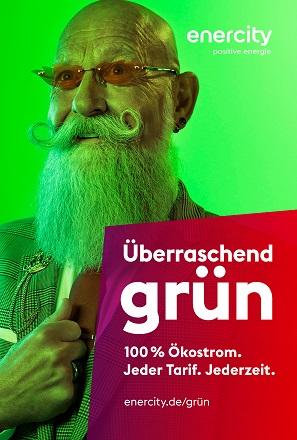 """enercity startete eine Kampagne mit dem Claim """"Überraschend grün"""", um über das eigene Ökostrom-Angebot zu informieren."""