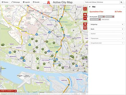 Hamburg: Online nach Sportstätten suchen.