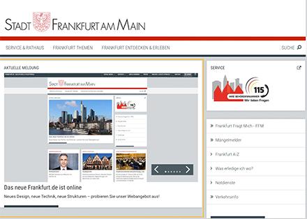 Das neue Design des Web-Auftritts von Frankfurt am Main.