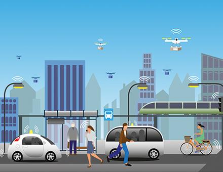 Vernetzte Mobilität in der Smart City.