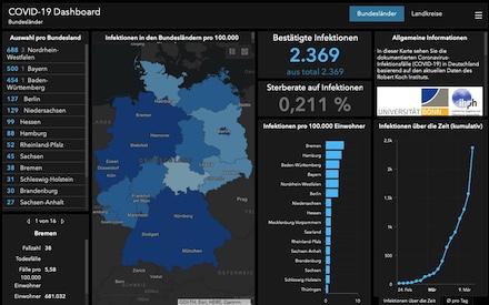 Ein Dashboard mit interaktiver Karte zu bestätigten Coronavirus-Fällen in Deutschland stellt das Unternehmen Esri bereit (Stand: 12. März 2020).