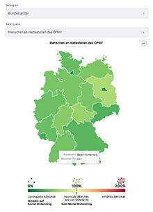 Die Karte zeigt tagesaktuell, in welchem Maß Social Distancing in den einzelnen Bundesländern eingehalten wird.