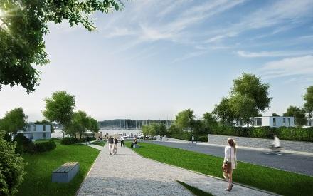 Blick über die Promenade zum Yachthafen der Schlei-Terrassen, die zukünftig mit grüner Wärme versorgt werden.