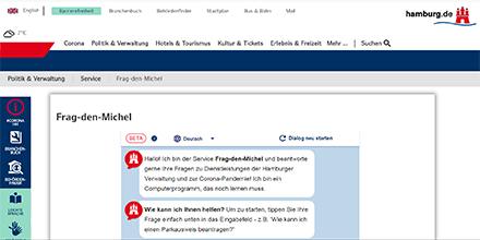 Der Hamburger Chatbot Frag-den-Michel kann jetzt auch aktuelle Informationen zu COVID-19 liefern.