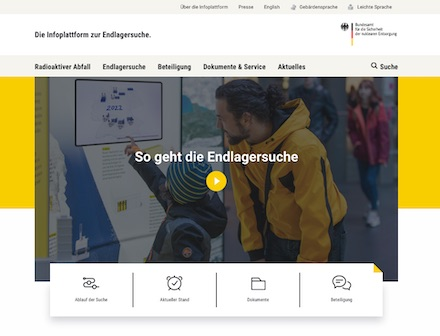 Das Informationsportal zur Endlagersuche bündelt die Informationen des Bundes zur Suche eines Endlagers in Deutschland.
